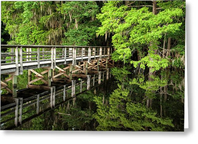 Bridge With Reflection Over Suwanee Greeting Card by Sheila Haddad