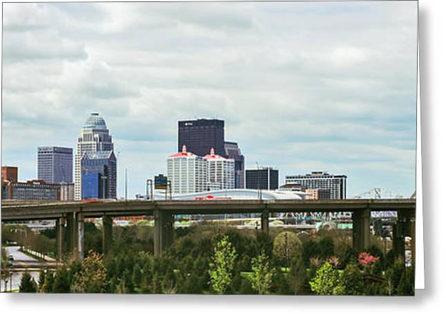 River Photography Greeting Cards - Bridge With Skyline In The Background Greeting Card by Panoramic Images