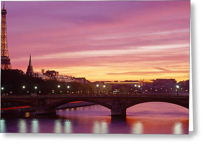 Victorian Style Greeting Cards - Bridge With The Eiffel Tower Greeting Card by Panoramic Images
