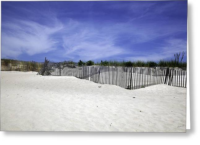 Sand Fences Photographs Greeting Cards - Bridgehampton Beach - Fences Greeting Card by Madeline Ellis