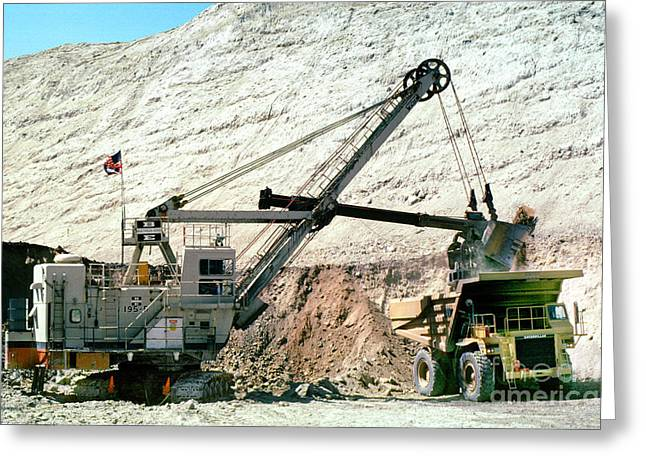 Mechanization Greeting Cards - Bridger Coal Company Mining Shovel and Dump Truck Greeting Card by Wernher Krutein