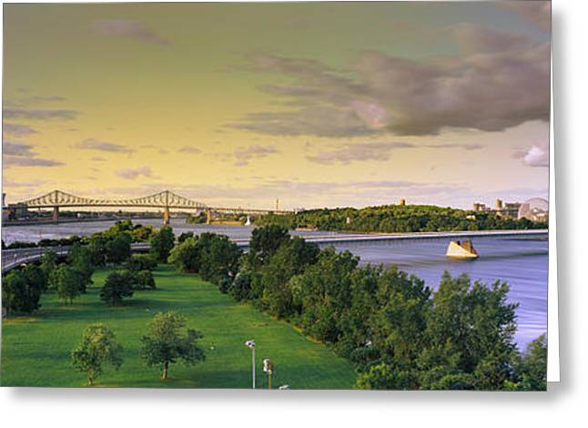Geodesic Greeting Cards - Bridges Across A River, Jacques Cartier Greeting Card by Panoramic Images