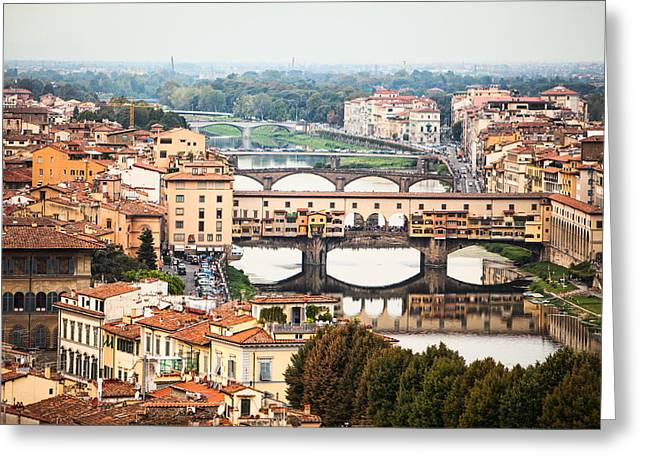 Arno Greeting Cards - Bridges of Florence Greeting Card by Susan  Schmitz
