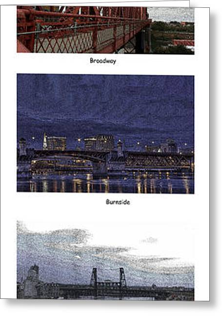Broadway St Greeting Cards - Bridges of Portland Oregon Greeting Card by David Bearden