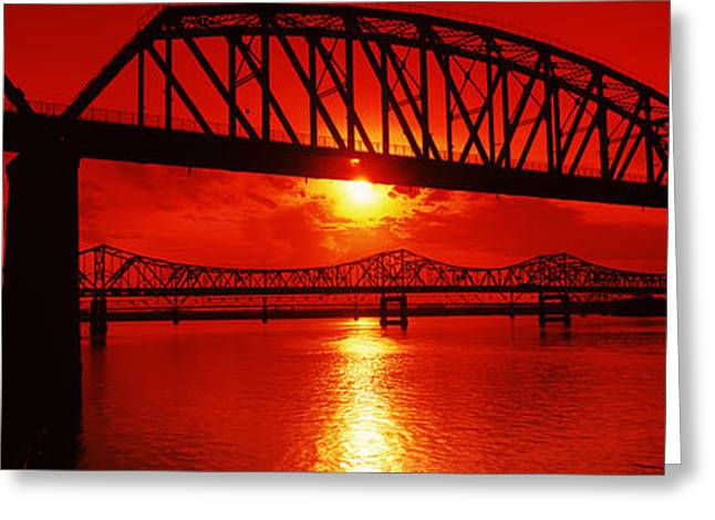 Jefferson Greeting Cards - Bridges Over A River At Dusk Greeting Card by Panoramic Images