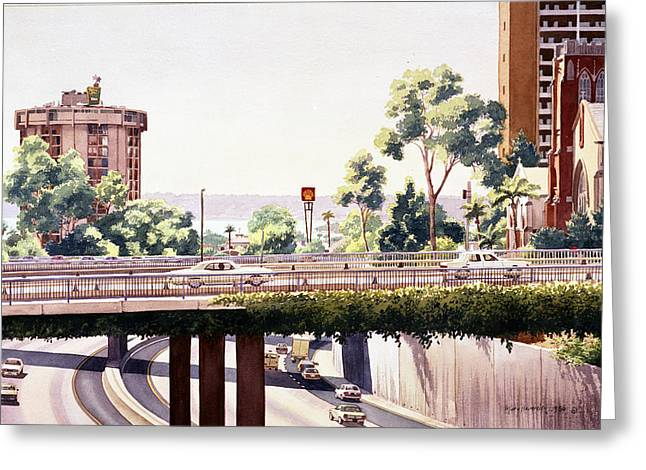 Freed Paintings Greeting Cards - Bridges over Rt 5 Downtown San Diego Greeting Card by Mary Helmreich
