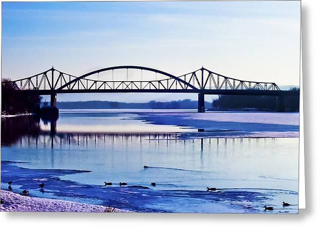 Best Sellers -  - Water Fowl Greeting Cards - Bridges over the Mississippi Greeting Card by Christi Kraft