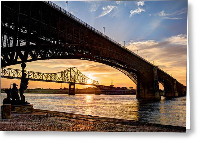Sunrise Greeting Cards - Bridges Over the Mississippi Greeting Card by Gregory Ballos