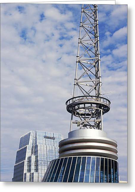 Nashville Panorama Greeting Cards - Bridgestone Arena Tower At Nashville Greeting Card by Panoramic Images