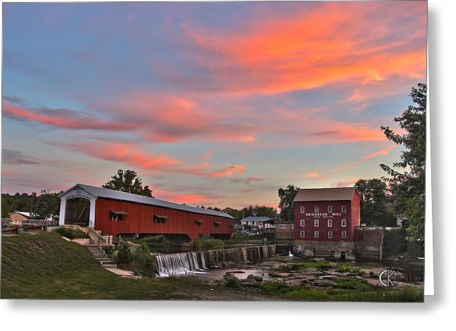 Bridgeton Covered Bridge Greeting Cards - Bridgeton at Sunset Greeting Card by Clayton Kelley