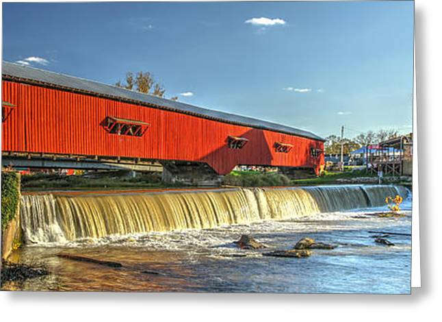 Bridgeton Mill Greeting Cards - Bridgeton Bridge and Mill Greeting Card by Harold Rau