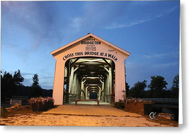 Bridgeton Covered Bridge Greeting Cards - Bridgeton Covered Bridge at Twilight Greeting Card by Clayton Kelley