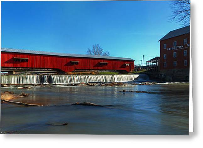 Bridgeton Covered Bridge Greeting Cards - Bridgeton Mill and Bridge Greeting Card by Thomas Sellberg