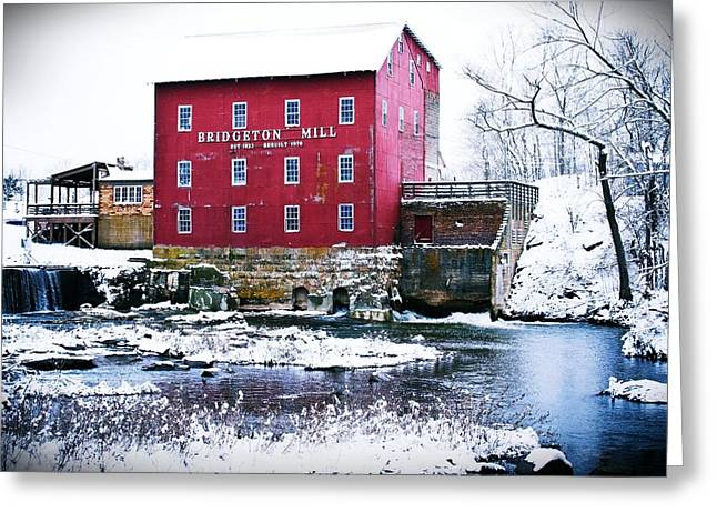 Bridgeton Covered Bridge Greeting Cards - Bridgeton Mill in Winter Greeting Card by Virginia Folkman