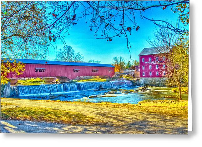 Bridgeton Covered Bridge Greeting Cards - Bridgeton Mill Covered Bridge Greeting Card by Jack R Perry