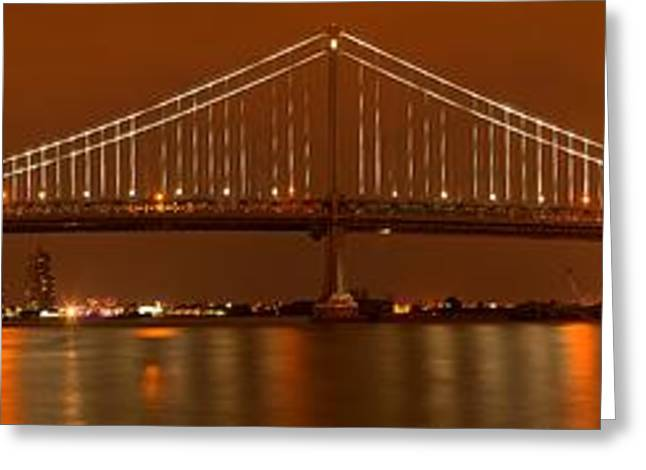 Famous Bridge Greeting Cards - Bridging Camden And Philly Greeting Card by Adam Jewell