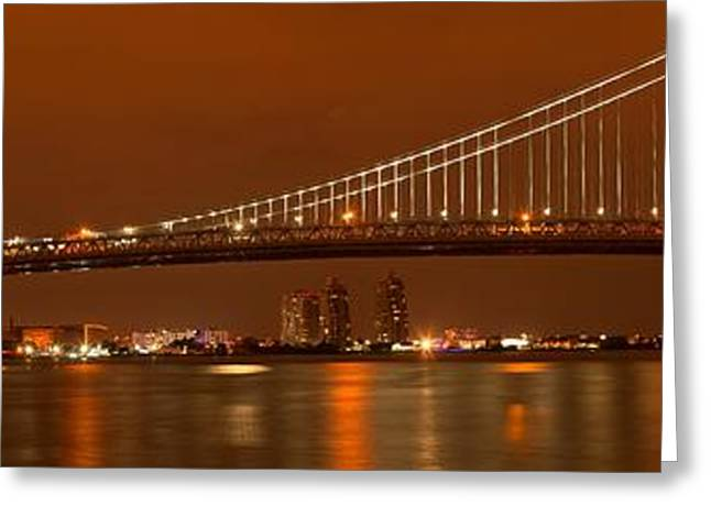 Ben Franklin Bridge Greeting Cards - Bridging New Jersey And Pennsylvania Greeting Card by Adam Jewell