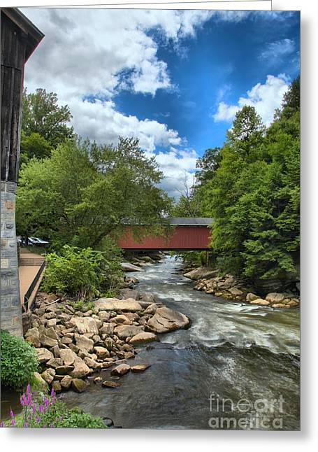 Mcconnells Mill Greeting Cards - Bridging Slippery Rock Creek Greeting Card by Adam Jewell