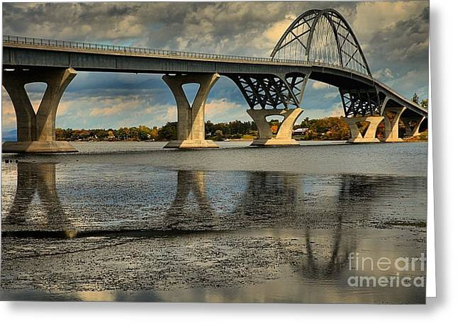 Lake Champlain Greeting Cards - Bridging Vermont And New York Greeting Card by Adam Jewell