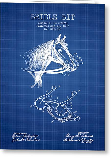 Bridle Greeting Cards - Bridle Bit patent from 1897 - Blueprint Greeting Card by Aged Pixel