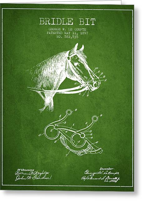 Bridle Greeting Cards - Bridle Bit patent from 1897 - Green Greeting Card by Aged Pixel