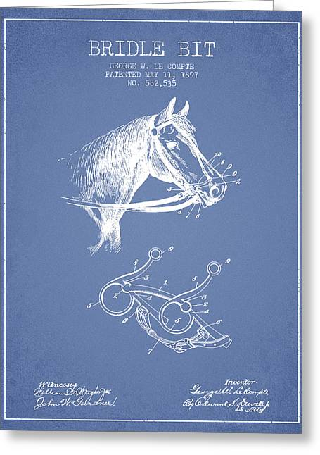 Bridle Greeting Cards - Bridle Bit patent from 1897 - Light Blue Greeting Card by Aged Pixel