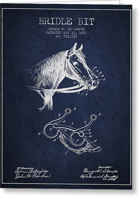 Bridle Greeting Cards - Bridle Bit patent from 1897 - Navy Blue Greeting Card by Aged Pixel