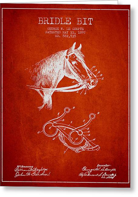 Bridle Greeting Cards - Bridle Bit patent from 1897 - Red Greeting Card by Aged Pixel