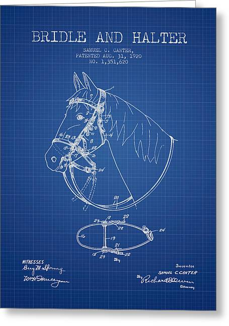 Bridle Greeting Cards - Bridle Halter patent from 1920 - Blueprint Greeting Card by Aged Pixel