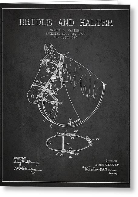 Bridle Greeting Cards - Bridle Halter patent from 1920 - Charcoal Greeting Card by Aged Pixel