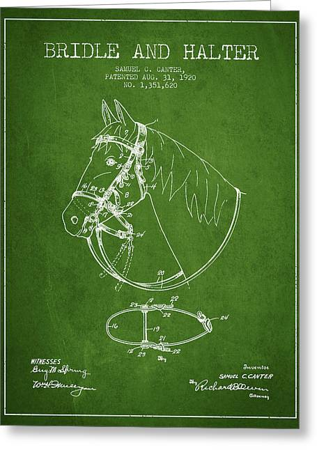 Bridle Greeting Cards - Bridle Halter patent from 1920 - Green Greeting Card by Aged Pixel