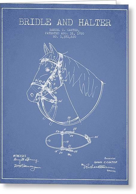 Bridle Greeting Cards - Bridle Halter patent from 1920 - Light Blue Greeting Card by Aged Pixel