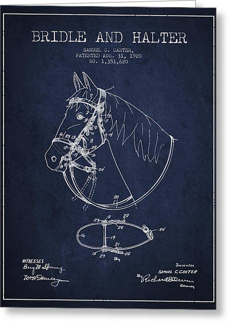 Bridle Greeting Cards - Bridle Halter patent from 1920 - Navy Blue Greeting Card by Aged Pixel
