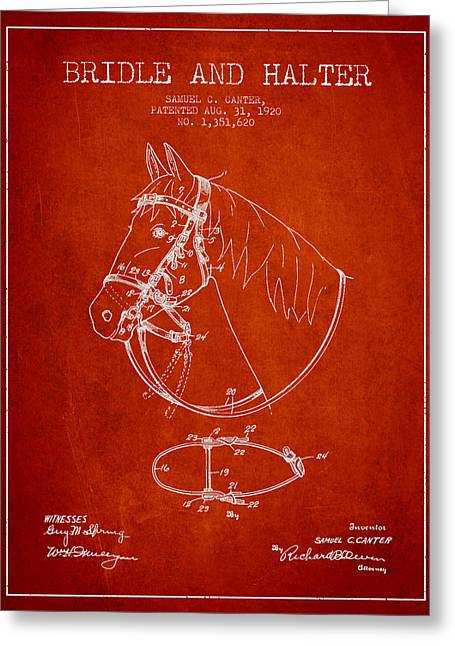 Bridle Greeting Cards - Bridle Halter patent from 1920 - Red Greeting Card by Aged Pixel