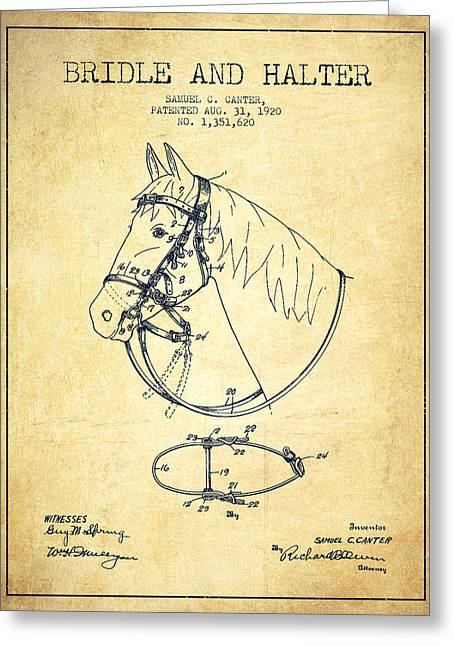 Bridle Greeting Cards - Bridle Halter patent from 1920 - Vintage Greeting Card by Aged Pixel