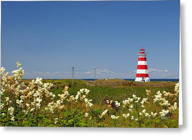 Nova Scotia Photographers Greeting Cards - Brier Island Lighthouse Greeting Card by Nomad Art And  Design