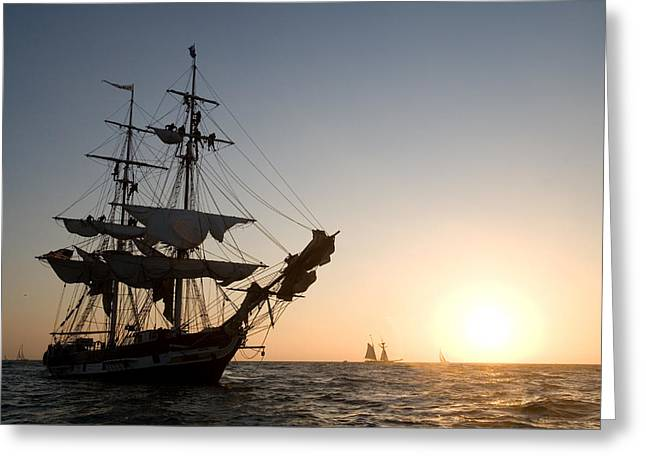 Square Rigger Greeting Cards - Brig Pilgrim at Sunset Greeting Card by Cliff Wassmann