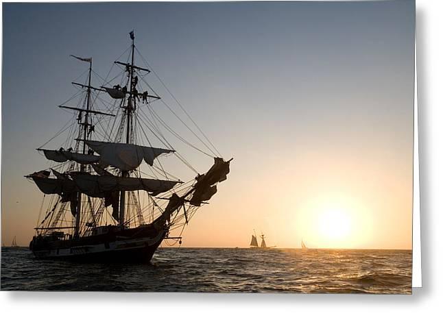 Sailing Boat Greeting Cards - Brig Pilgrim at Sunset Greeting Card by Cliff Wassmann