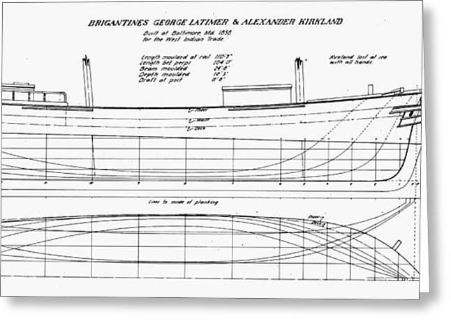 Kirkland Greeting Cards - Brigantine Plans, 1858 Greeting Card by Granger