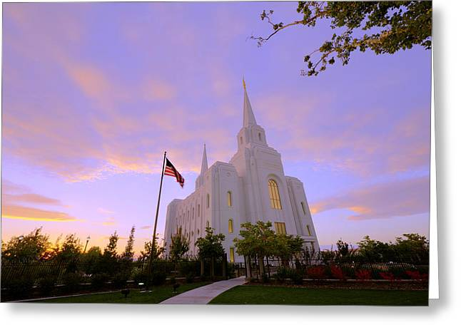 Late Fall Greeting Cards - Brigham City Temple I Greeting Card by Chad Dutson