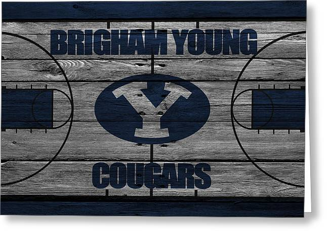 Team Greeting Cards - Brigham Young Cougars Greeting Card by Joe Hamilton