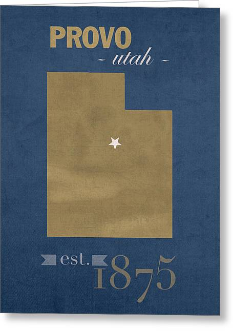 Town Mixed Media Greeting Cards - Brigham Young University Cougars Provo Utah College Town State Map Poster Series No 023 Greeting Card by Design Turnpike