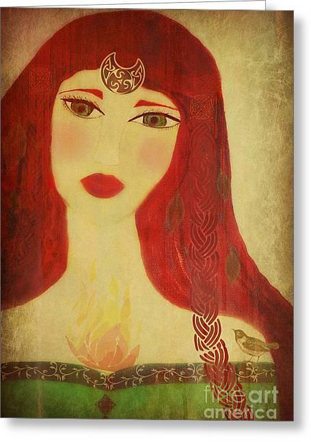 Goddess Greeting Cards - Brighid Celtic Goddess Folk Greeting Card by Sacred  Muse