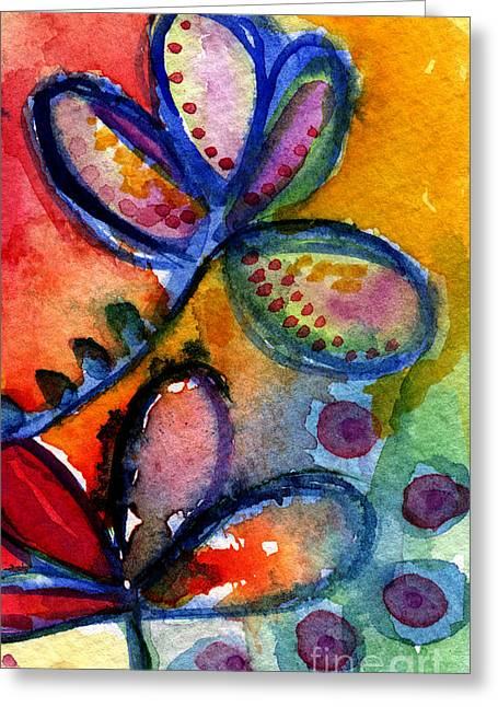 Purple Mixed Media Greeting Cards - Bright Abstract Flowers Greeting Card by Linda Woods