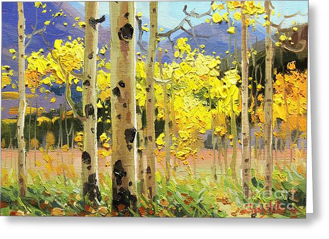Park Scene Paintings Greeting Cards - Bright Autumn  Greeting Card by Gary Kim