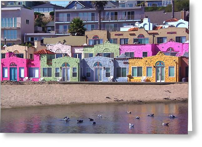 Capitola Greeting Cards - Bright Beach Bungalows Greeting Card by Art Block Collections