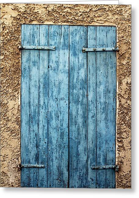 Stone House Greeting Cards - Bright Blue French Shutters Greeting Card by Nomad Art And  Design