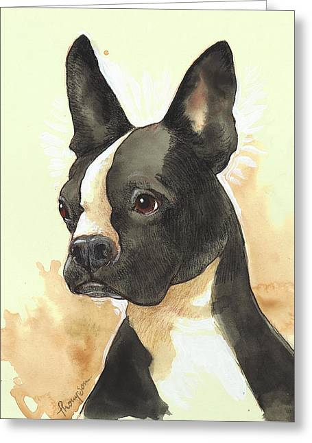 White Terrier Mixed Media Greeting Cards - Bright Boston Terrier Greeting Card by Tracie Thompson