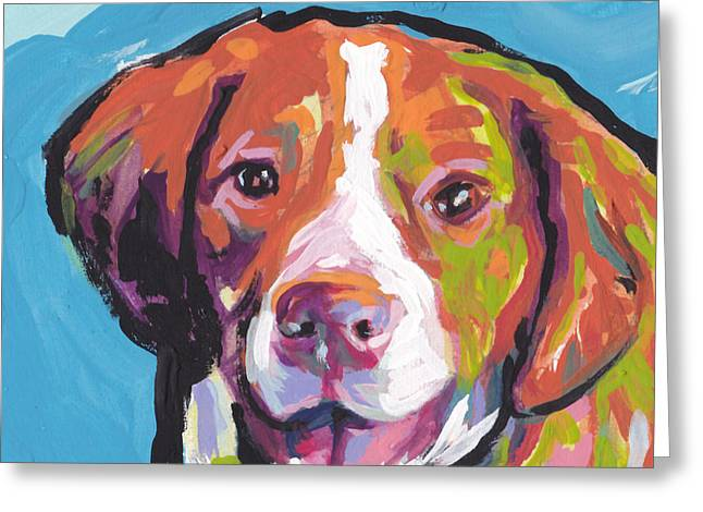 Recently Sold -  - Puppies Paintings Greeting Cards - Bright Brit Greeting Card by Lea