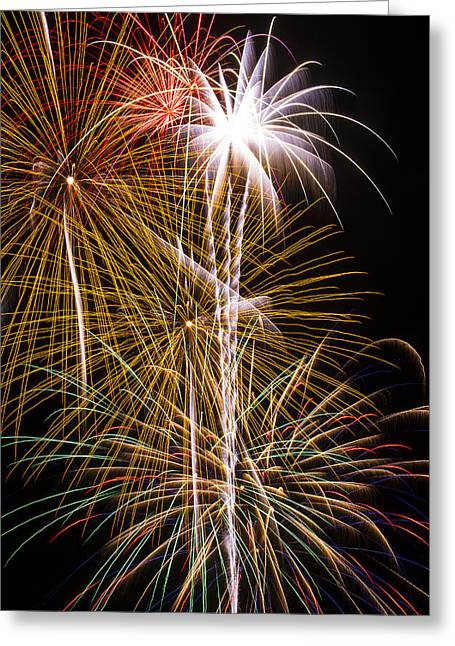 Pyrotechnics Greeting Cards - Bright bursts of fireworks Greeting Card by Garry Gay